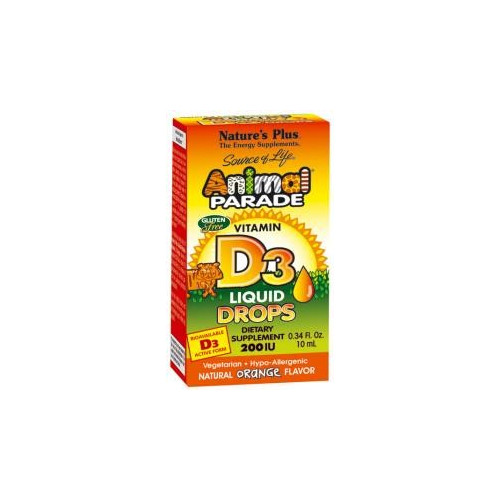 ANIMAL PARADE VITAMINA D3 GOTAS SABOR NARANJA 200 UI/GOTA 10 CC NATURE'S PLUS