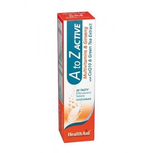 MULTI A-Z ACTIVE.CON GINSENG,COQ10,TE VERDE 20 COMP EFERV HEALTH AID NUTRINAT
