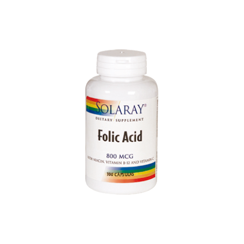 FOLIC ACID 800 MCG 100 CAP SOLARAY
