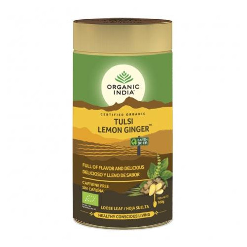 TULSI LEMON GINGER TIN (LATA) 100 GR ORGANIC INDIA