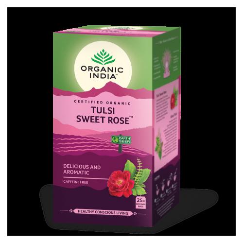 TULSI ROSA DULCE (SWEET ROSE) (ESTRES/AROMA) 25 SOBRES ORGANIC INDIA
