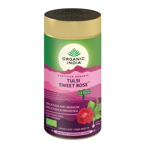 TULSI SWEET ROSE TIN (LATA) 100 GR ORGANIC INDIA