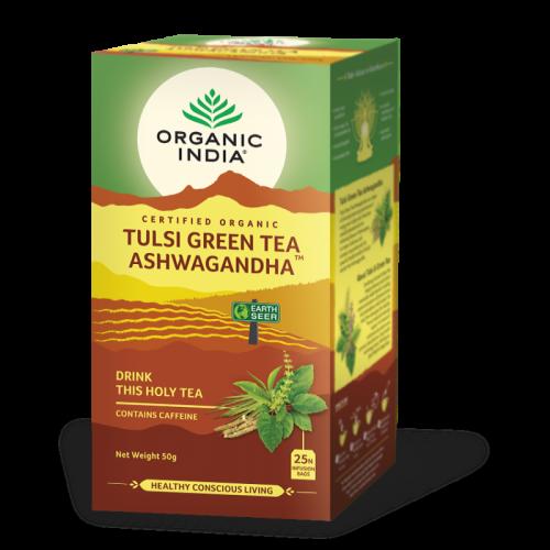 TULSI GREEN TEA ASHWAGANDHA 25 SOBRES ORGANIC INDIA